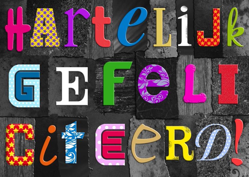 Verjaardagskaarten - Leuke verjaardagskaart met gekleurde letters