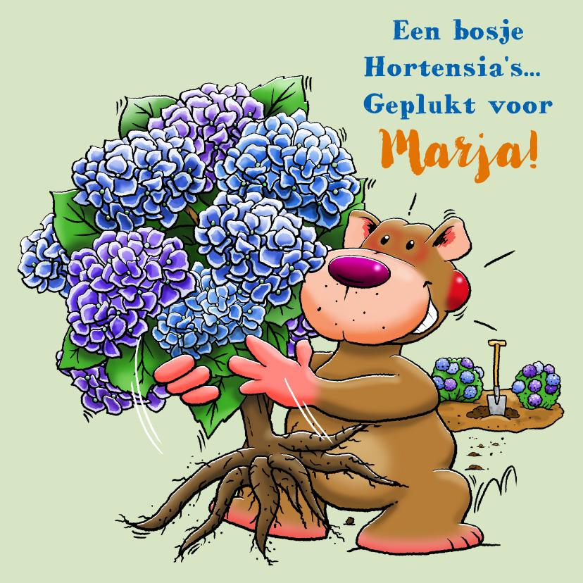 Verjaardagskaarten - Leuke verjaardagskaart met Hortensia-struik en beertje