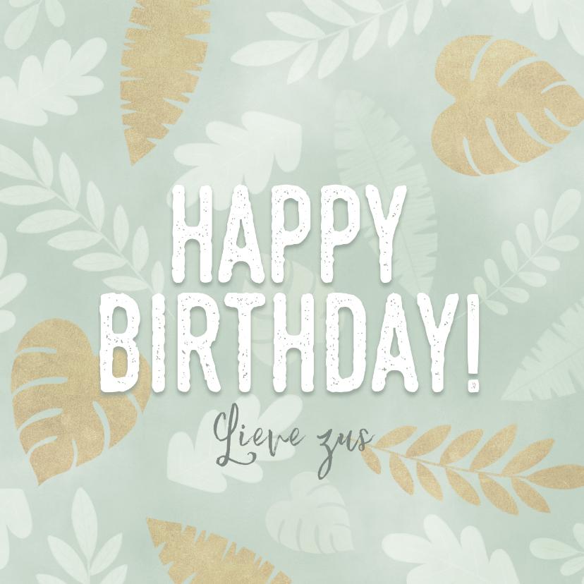 Verjaardagskaarten - Leuke verjaardagskaart met junglepatroon wit en goud