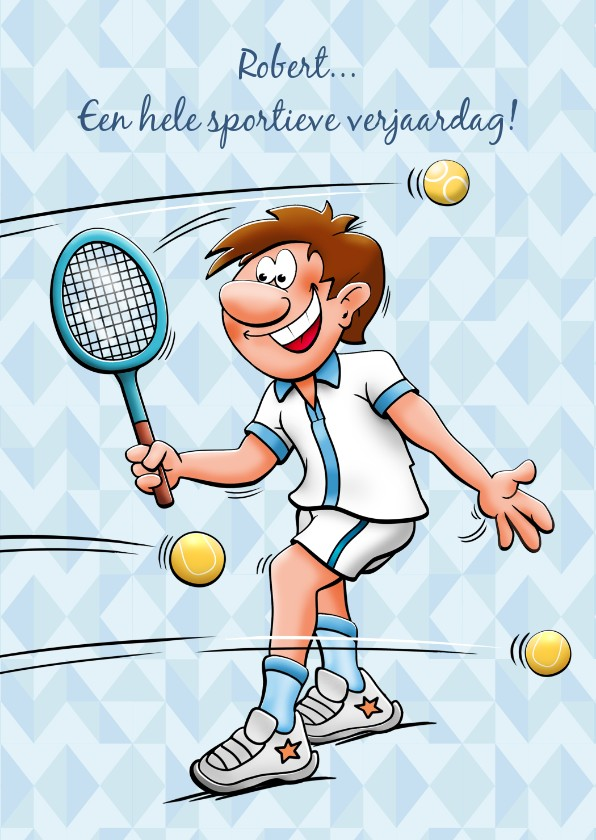 Leuke Verjaardagskaart Met Man Die Tennist Kaartje2go