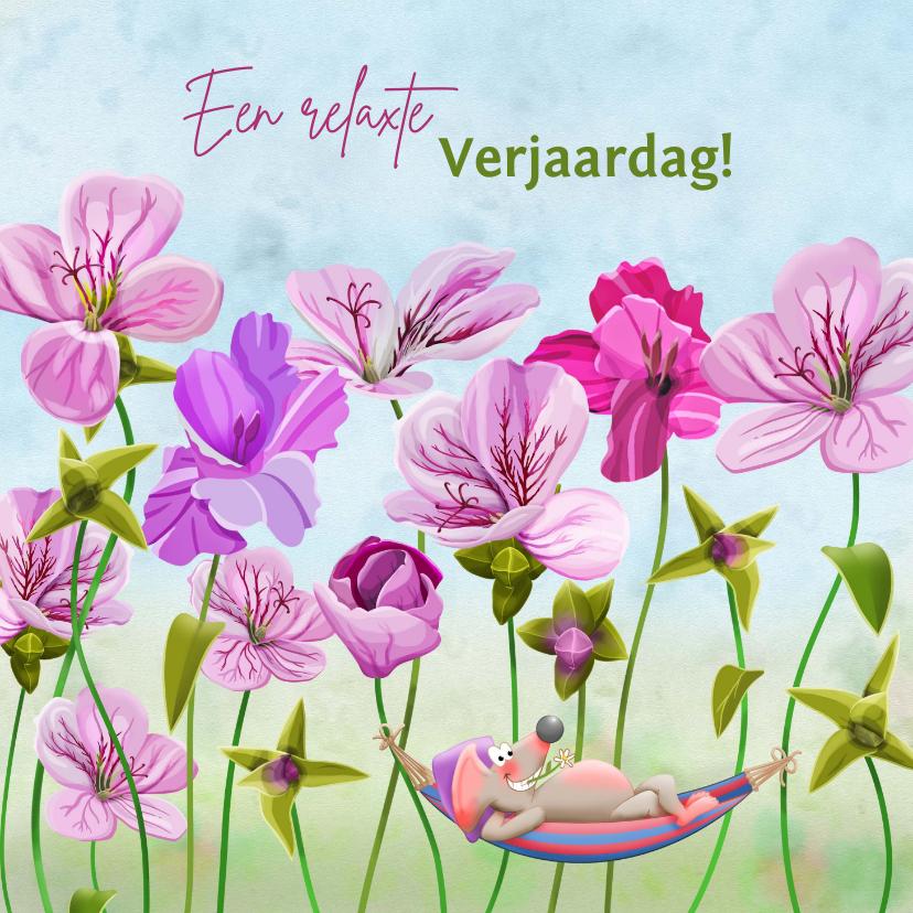 Verjaardagskaarten - Leuke verjaardagskaart met roze bloemen en muisje