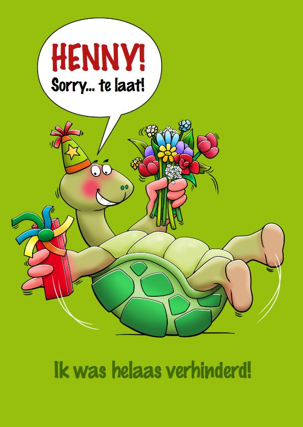 Verjaardagskaarten - Leuke verjaardagskaart met schildpad die op zijn rug ligt