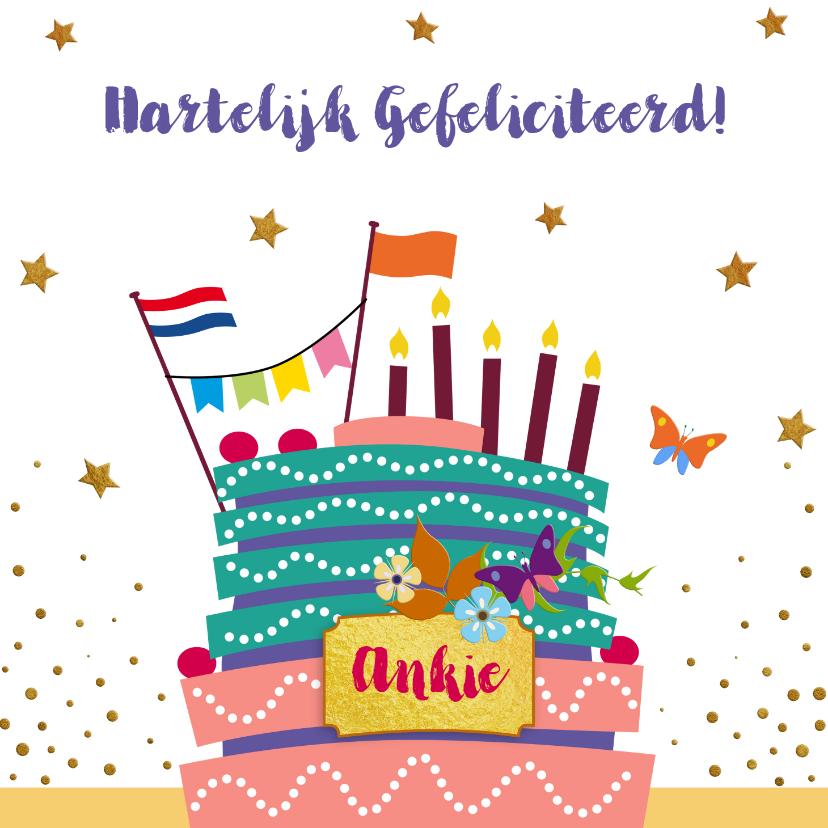 Verjaardagskaarten - Leuke verjaardagskaart met taart, vlaggen en bloemen