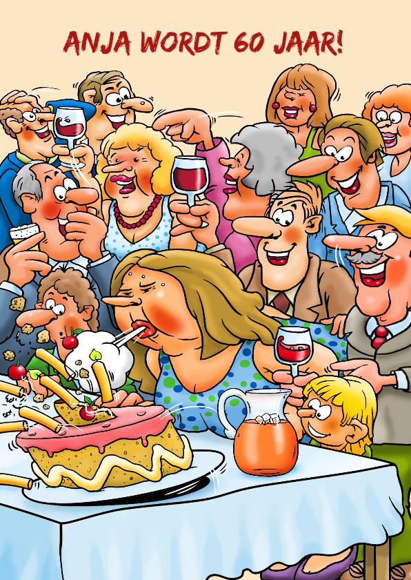 Verjaardagskaarten - Leuke verjaardagskaart  met vrouw die een taart omver blaast