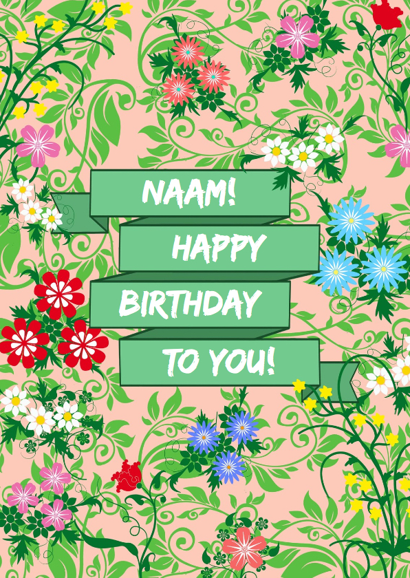 Verjaardagskaarten - Leuke verjaardagskaart met wimpel en bloemen