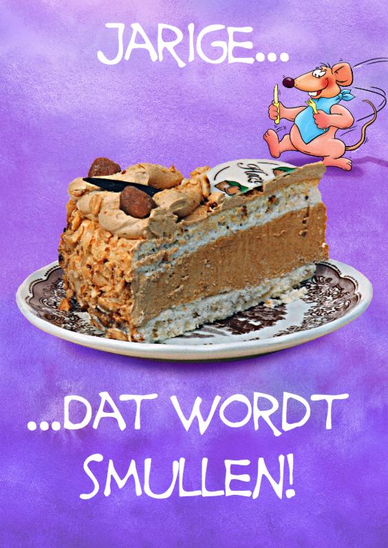 Verjaardagskaarten - Leuke verjaardagskaart muis met gebak, om van te smullen