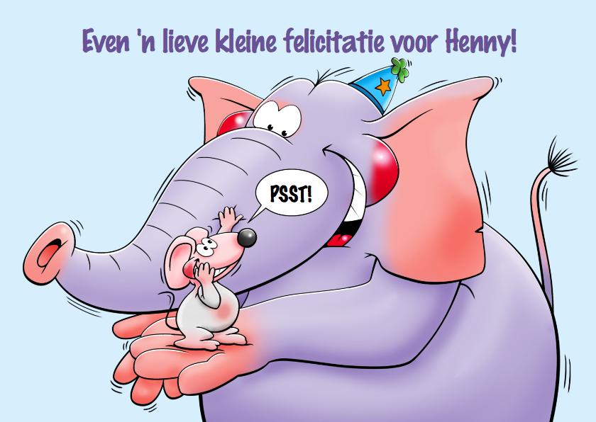 Verjaardagskaarten - Leuke verjaardagskaart olifant en muisje met briefje