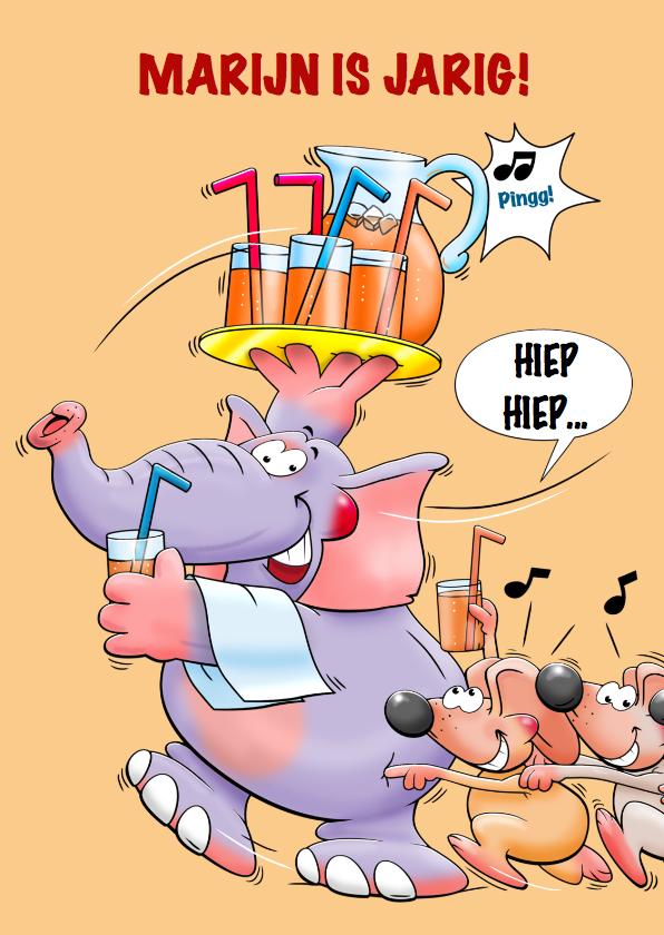 Verjaardagskaarten - Leuke verjaardagskaart olifant en muizen met limonade
