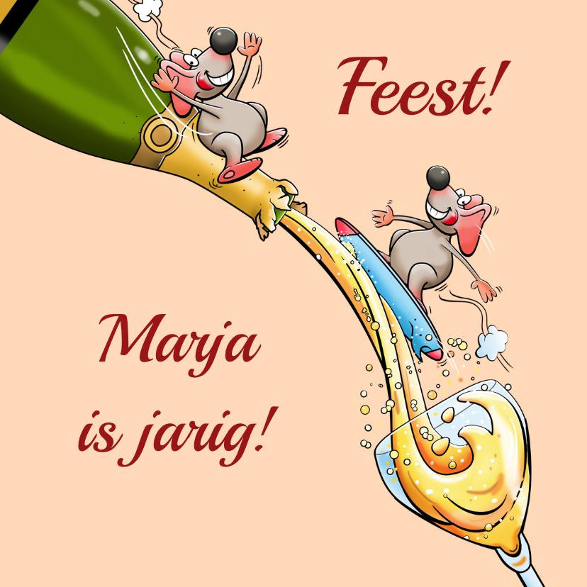 Verjaardagskaarten - Leuke verjaardagskaart voor vrouw met muizen en champagne