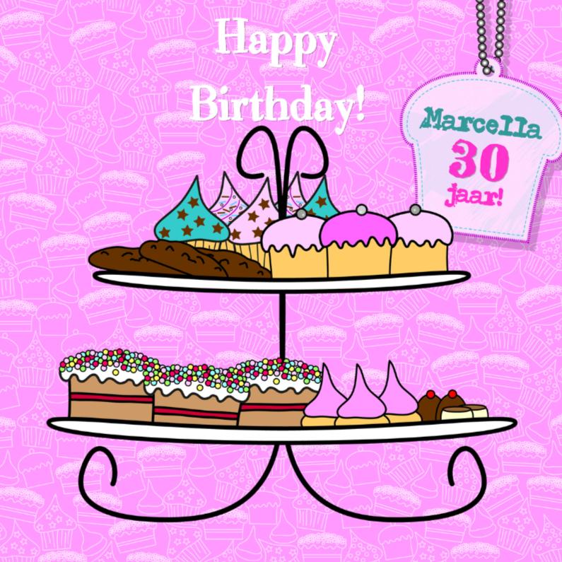 Verjaardagskaarten - Lief roze kaart met cupcakes