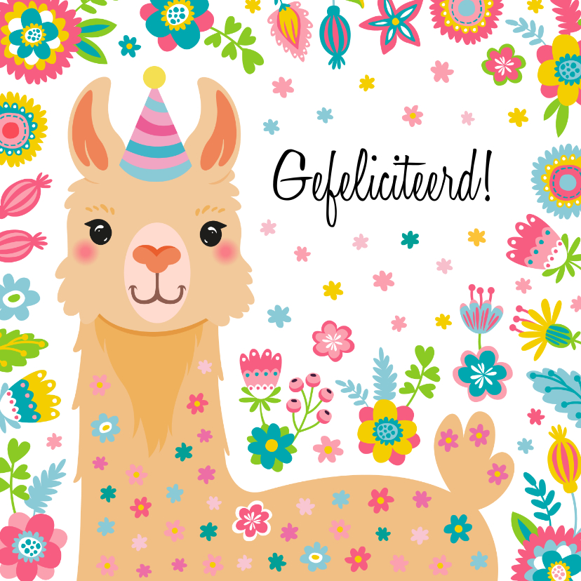 Verjaardagskaarten - Lieve alpaca verjaardagskaart