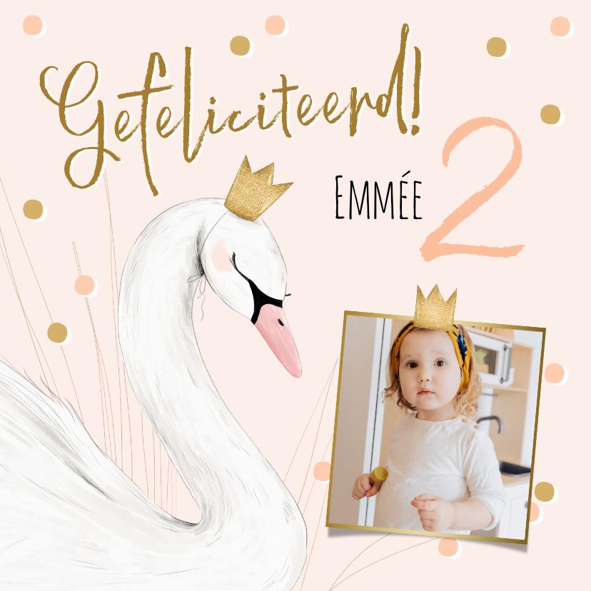 Verjaardagskaarten - Lieve kaart met zwaantje kroon confetti en foto