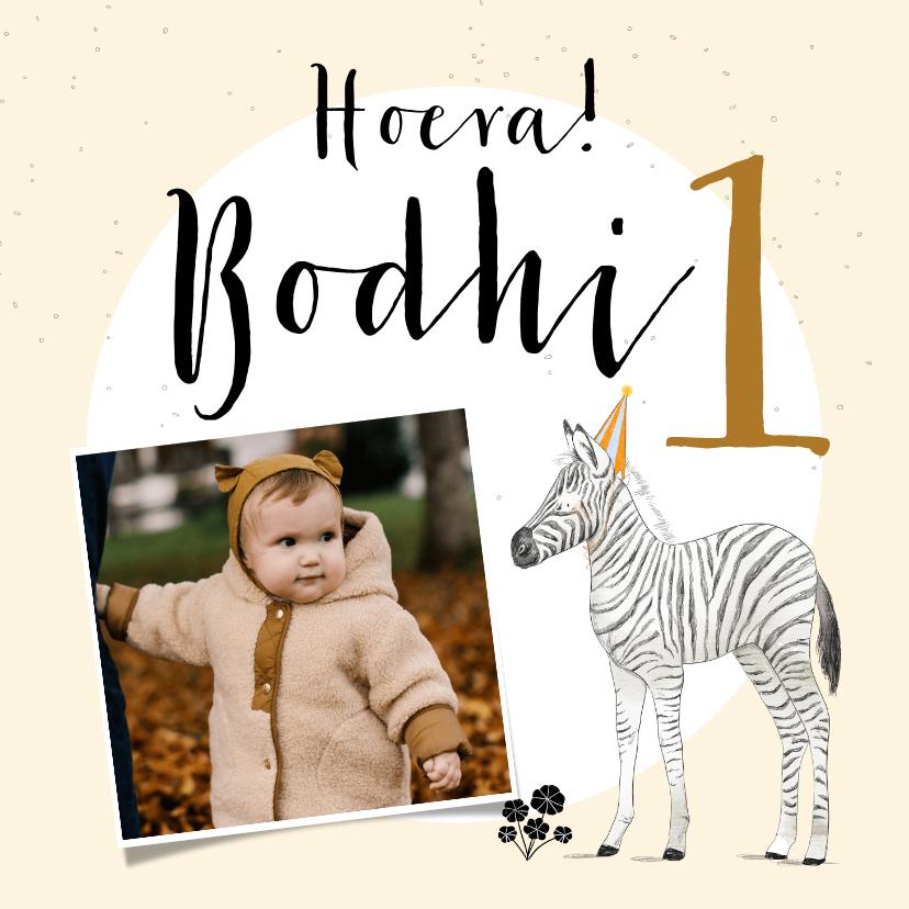 Verjaardagskaarten - Lieve kaart voor eerste verjaardag met zebra en foto