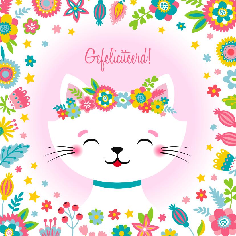Verjaardagskaarten - Lieve kat verjaardagskaart bloemen