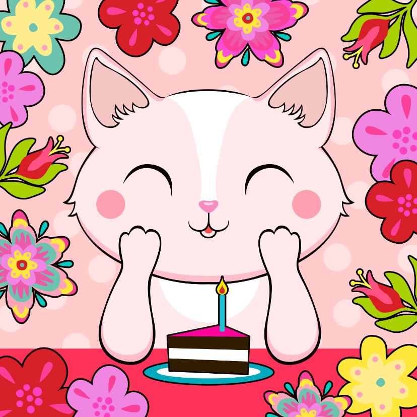 Verjaardagskaarten - Lieve verjaardagskaart met kat, bloemen en taart
