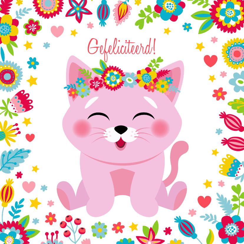 Verjaardagskaarten - Lieve verjaardagskaart poesje bloemen en hartjes
