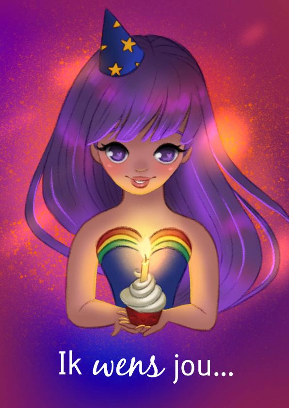 Verjaardagskaarten - Magische felicitatiekaart van een meisje met een cupcake