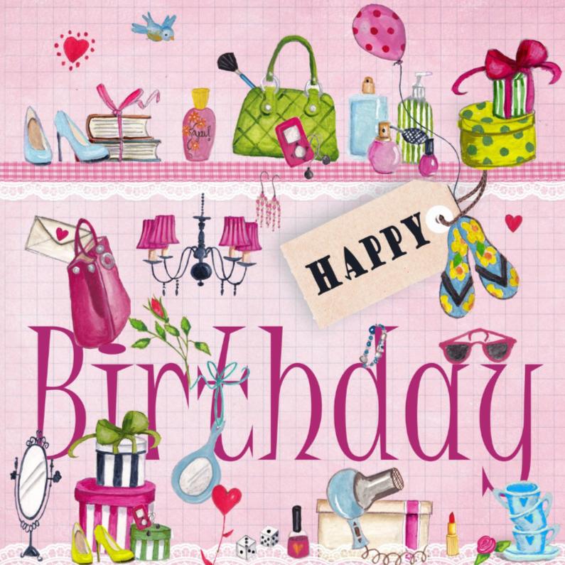 Verjaardagskaarten - Meiden spullen Happy Birthday kado Roze