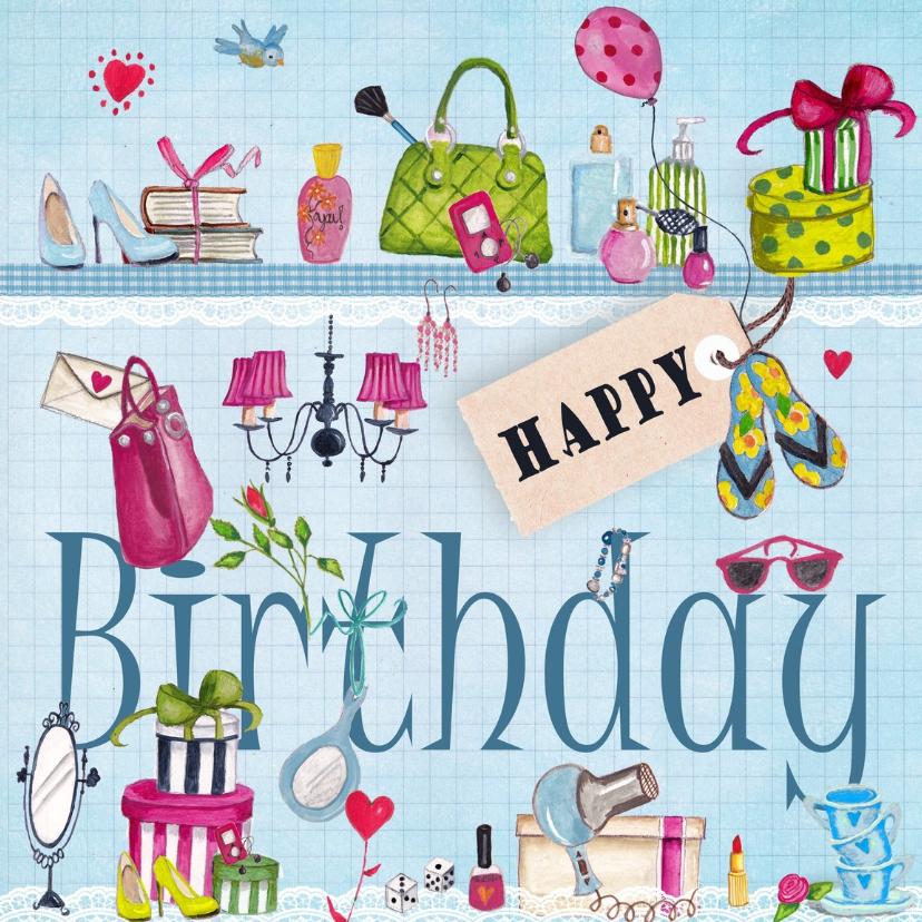 Verjaardagskaarten - Meiden spullen Happy Birthday Meisje Bl