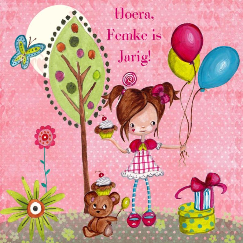 Verjaardagskaarten - Meisje Ballonnen Boom Cartita Design