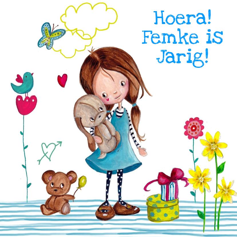 Verjaardagskaarten - Meisje Knuffel Jarig Carita Design