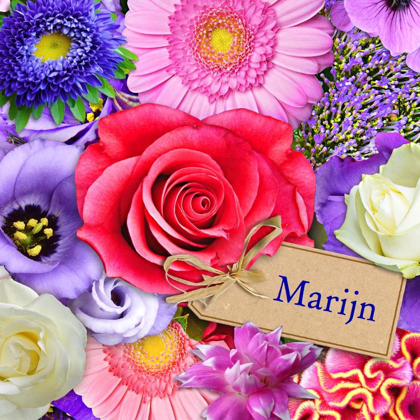 Verjaardagskaarten - Mooie verjaardag boeket met kleurige bloemen