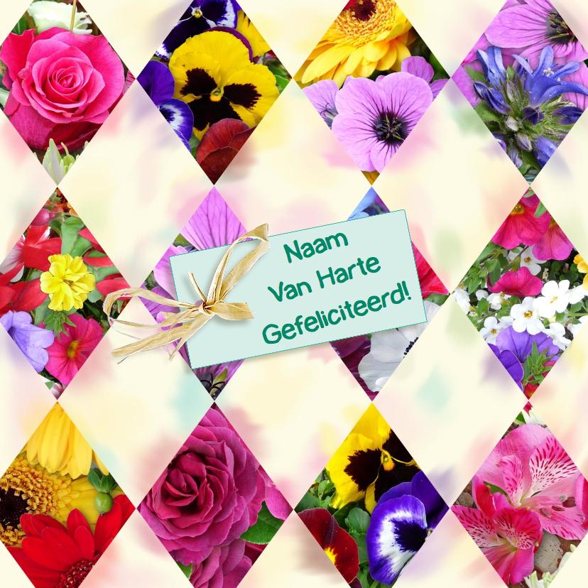 Verjaardagskaarten - Mooie verjaardagkaart segmenten met bloemen