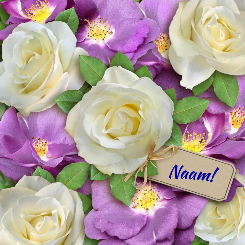 Verjaardagskaarten - Mooie verjaardagkaart witte en paarse wilde rozen