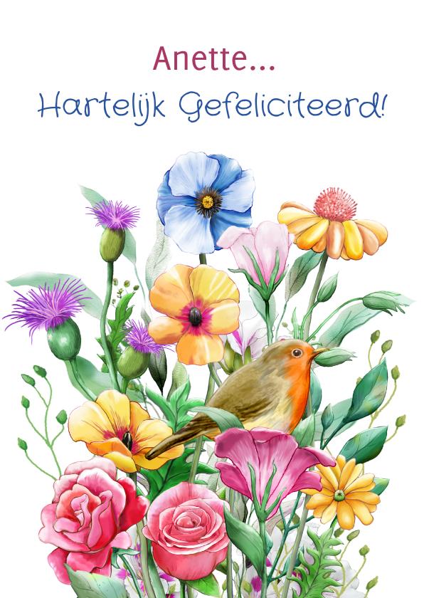 Verjaardagskaarten - Mooie verjaardagskaart met diverse bloemen