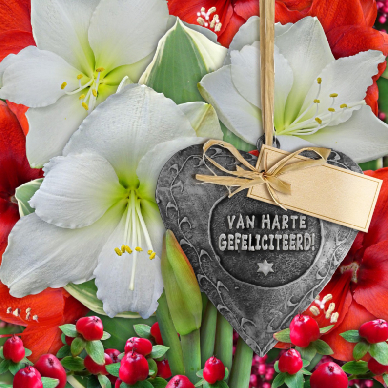 Verjaardagskaarten - Mooie verjaardagskaart met koper hart en Amaryllis