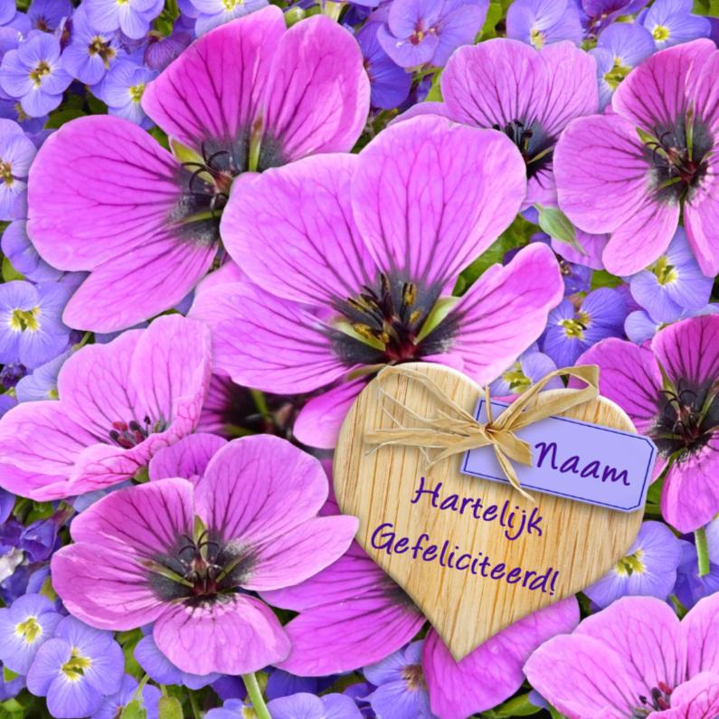 Verjaardagskaarten - Mooie verjaardagskaart met lila bloemen en hartje met wens
