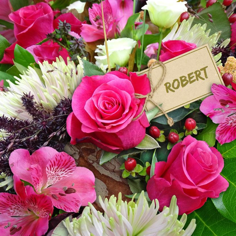 Verjaardagskaarten - Mooie verjaardagskaart met rozen en Chrysanten
