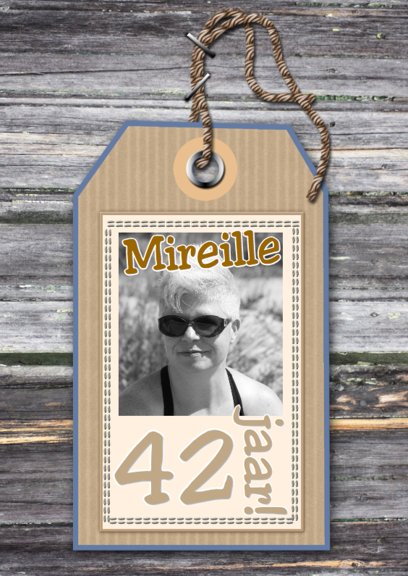 Verjaardagskaarten - naamkaartje hout foto en tekst