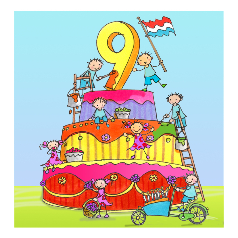 Verjaardagskaarten - negen jaar anet illustraties