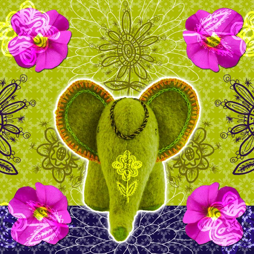 Verjaardagskaarten - Olifantje met bloemen verjaardag
