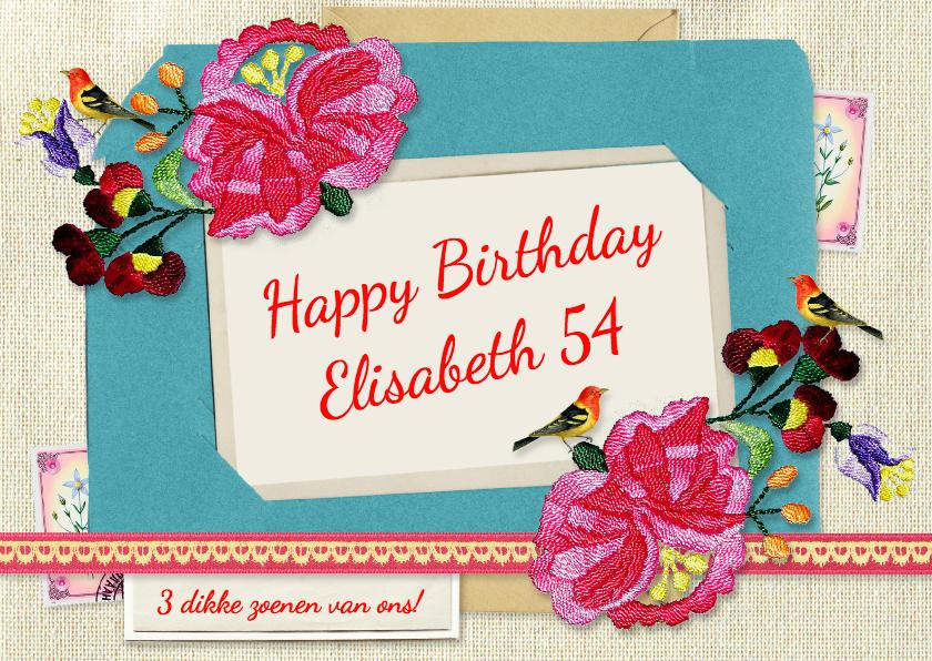 Verjaardagskaarten - Oma vintage bloemen