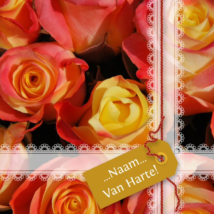 Verjaardagskaarten - Oranje gele rozen met kant