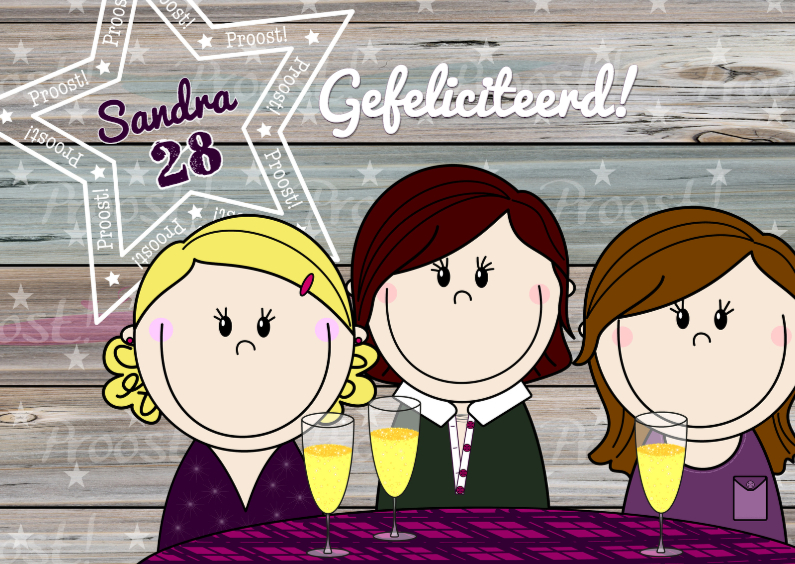Verjaardagskaarten - PARTY GIRLS proost Gefeliciteerd