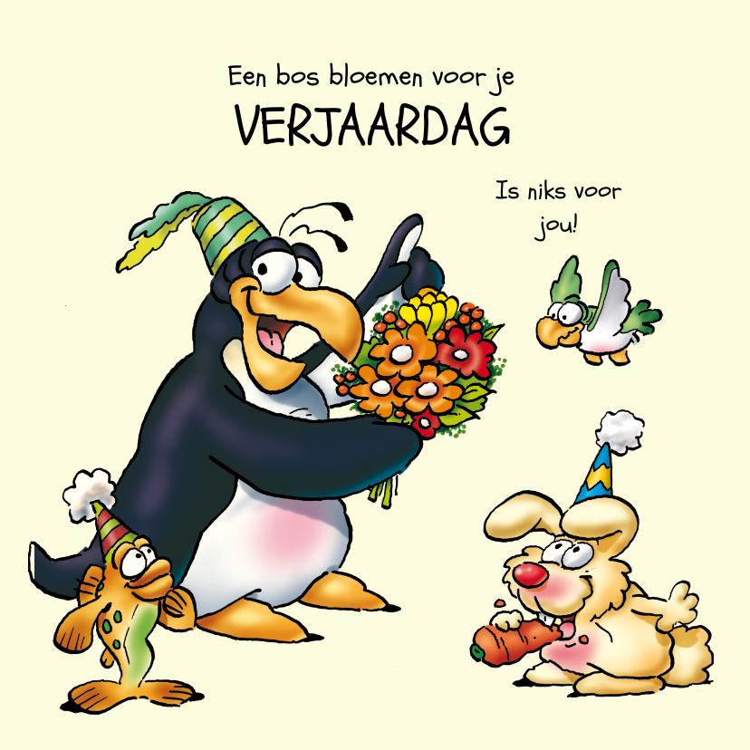 Verjaardagskaarten - Penguins verjaardag 20 met bloemen.