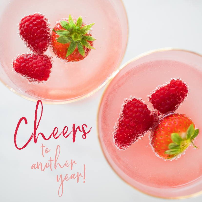 Verjaardagskaarten - Pink cocktail verjaardagskaart