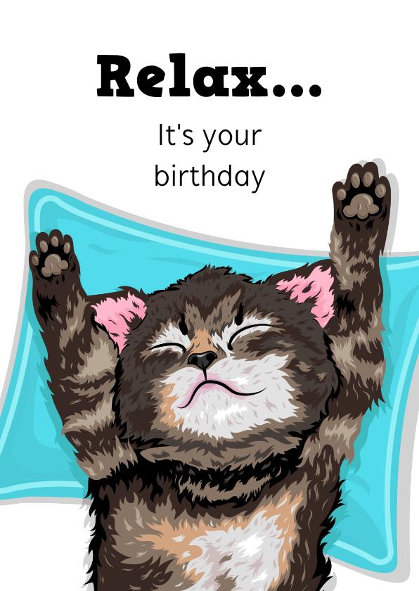 Verjaardagskaarten - Relax verjaardagskaart met kitten