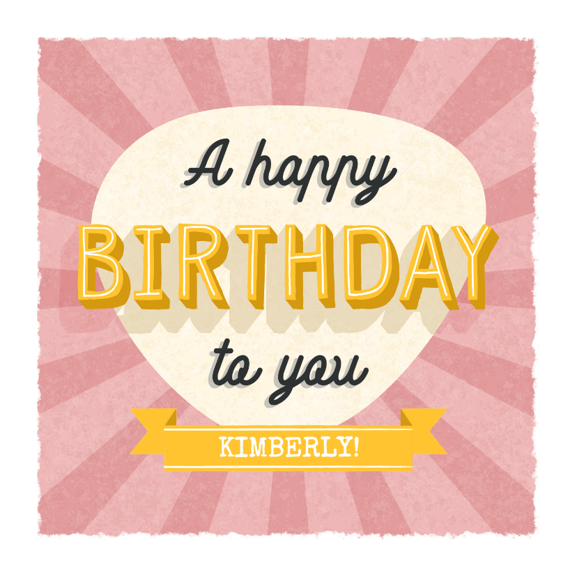 Verjaardagskaarten - Retro verjaardagskaart met typografie en aanpasbare naam