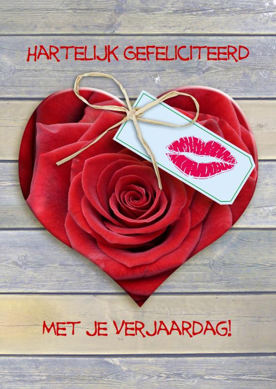 Verjaardagskaarten - Roos in vorm van hart met kusje op kaartje