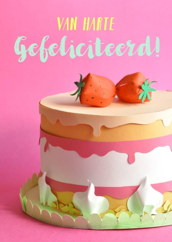 Verjaardagskaarten - Roze taart met aardbeien