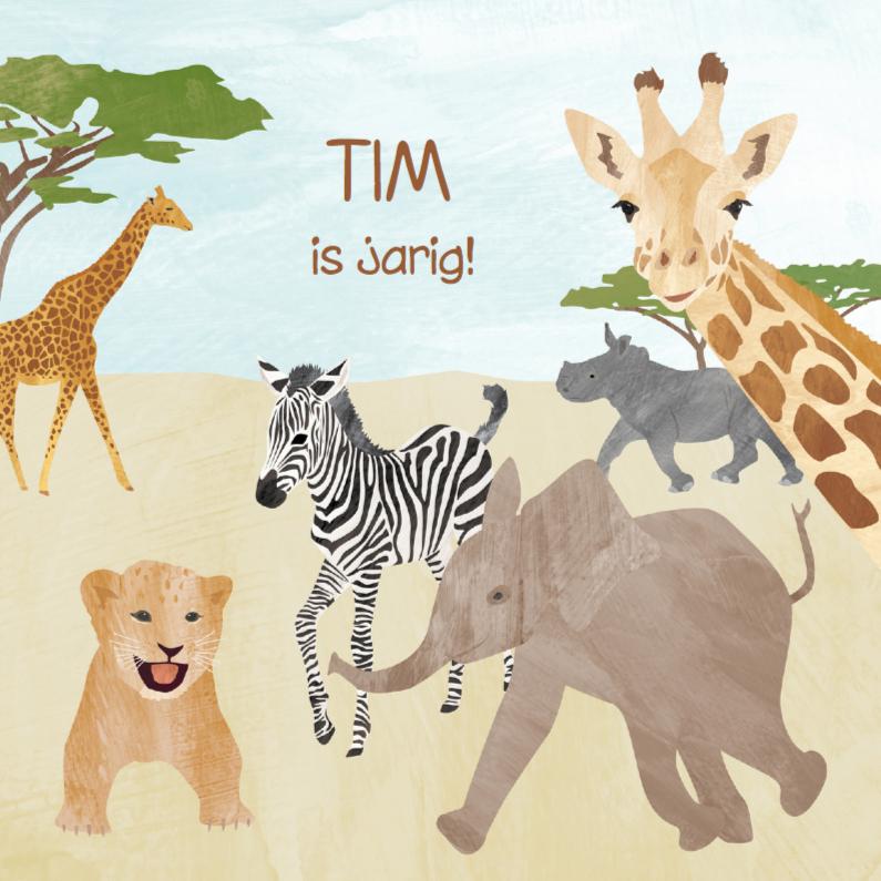 Verjaardagskaarten - Safari dieren verjaardagskaart
