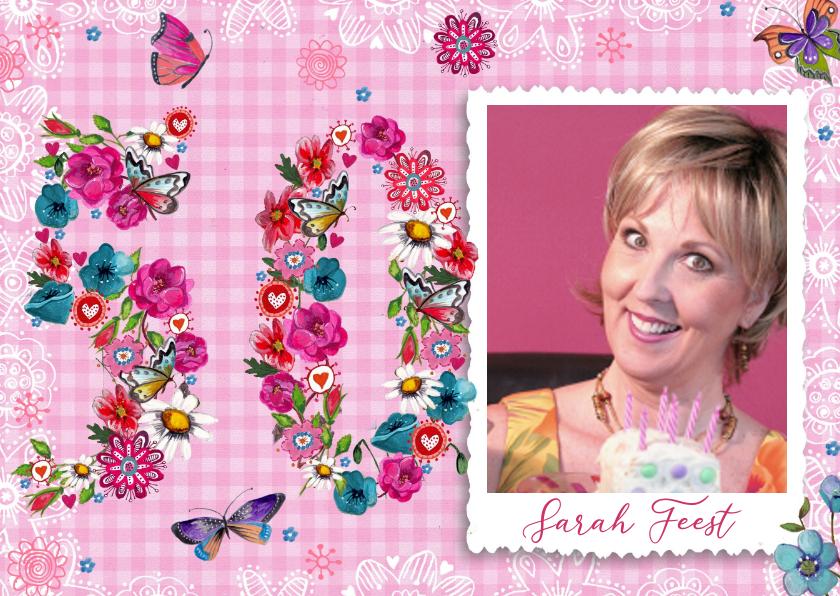 Verjaardagskaarten - Sarah Uitnodiging 50 jaar Foto Vrouw