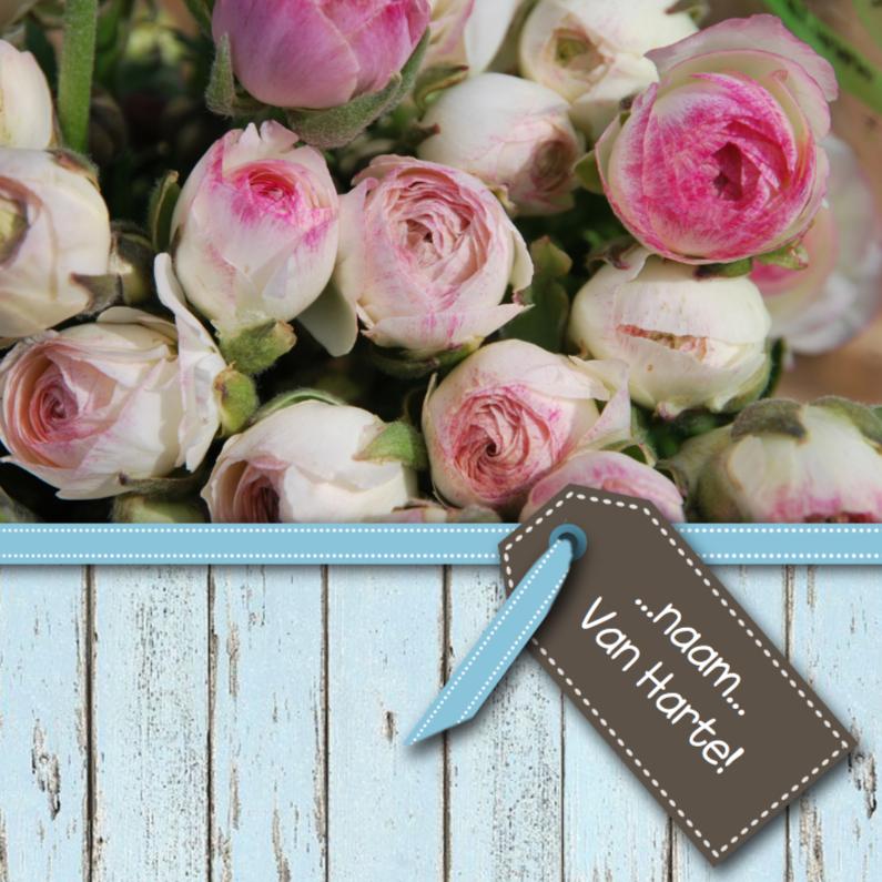 Verjaardagskaarten - Sloophout blauw met rozen roze