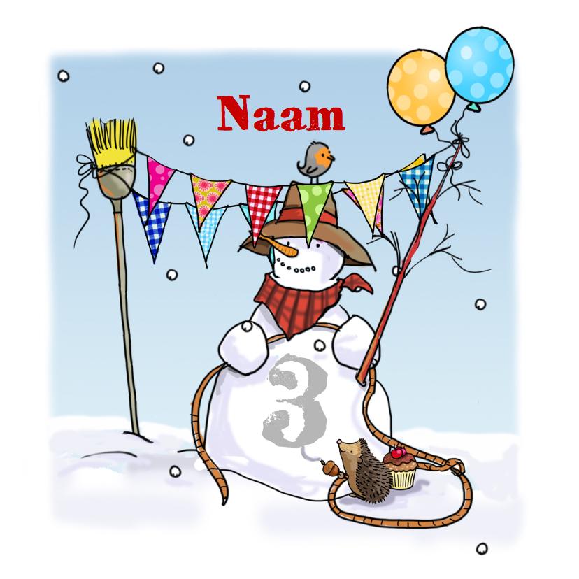 Verjaardagskaarten - Sneeuwpop met nummer Anet Illustraties