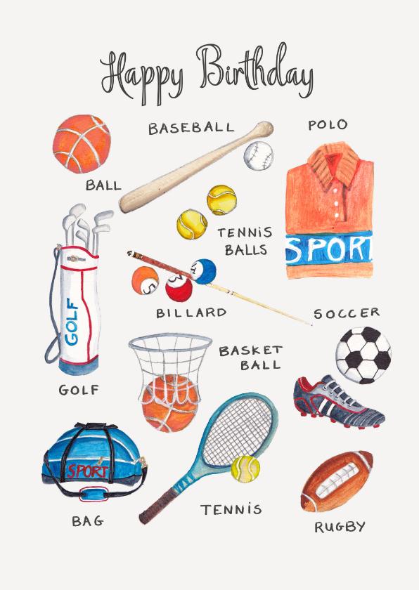 Verjaardagskaarten - Sportieve verjaardagskaart sport elementen