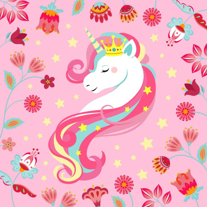 Verjaardagskaarten - Stijlvolle en kleurrijke verjaardagskaart met unicorn